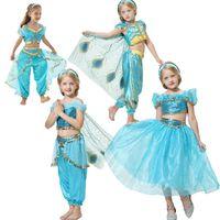 Retail Baby Girls Aladdin Lampada Gelsomino Principessa Abiti Bambini Halloween Princess Cosplay Party Dress Costumes Boutique Abbigliamento