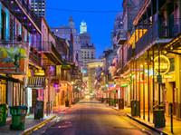 New Orleans noite Bourbon Street Fotografia Vinyl Backdrops Seamless Photo Booth Fundos para Louisiana Viagem Estúdio Props