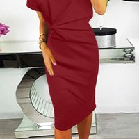 Cross border exclusive hip pack dress short sleeve womens Eu...