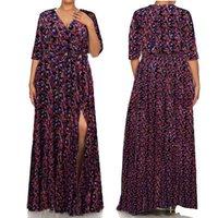 Plus Size femmes Robe manches demi floraux robe d'été femme sexy V-cou longues Robes longues Taille L-3XL