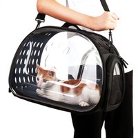 Gato Caja de cartón plegable transparente gato portador de bolsa de viaje al aire libre para los pequeños perros de perrito del gato Claro caja que lleva Visible