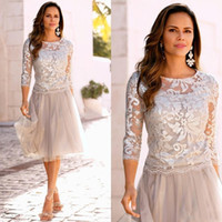 2020 Vintage Short Mother Of The Bride Dresses Lace Tulle Knee Length 3/4 Long Sleeves Mother Bride Dresses Short Prom Dresses