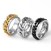 8mm Cool Black Spinner Kette Ring für Männer Edelstahl Drehbare Links Punk Männlichen fingerringe Frauen Modeschmuck in loser Schüttung