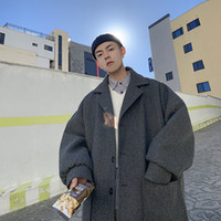 2019 Уюкской Winter Японских Теплые Повседневного Темперамент Мода супер рыхлый отворот Мужского шерстяное пальто Hombre Homme Мужчина для