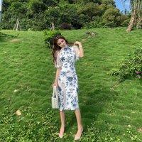 Новый дизайн женские ретро китайский стиль Cheongsam платье кружева заплатыт синий и белый фарфоровый флористический печать MIDI длинное платье Bodycon