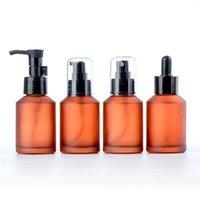15 ml 30 ml 60 ml 100 ml botella ámbar de Brown vaso vacío Loción spray botellas rellenables envase cosmético para Aceites Esenciales Loción
