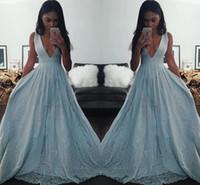 Light Blue Black Girl Robes de bal col en V profond Robes de soirée Applique dentelle pailletée Arabie Saoudite formelle Parti Robes Vestido de fiesta