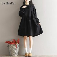 63eba2319f New Arrival. Japanese Mori Girl Dress 2019 Spring New Women Literary Loose  Stand Collar Bowknot Black Color Cotton Linen ...