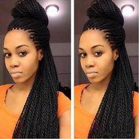 torção 28inches parte dianteira do laço Braid Perucas Mulheres Preto Para senegalês peruca de alta temperatura fibra Inteiro Cabeça trança do cabelo preto Wig