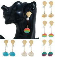 Frauen Art und Weise Gold-Legierung Shell Shaped baumeln Ohrringe Schmuck Holidy Geschenk