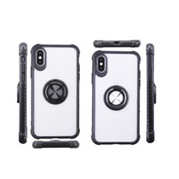 Für iPhone 11 Pro Max XS X XR 8 Plus Phone Case Transparente weiche TPU Plexiglas-Abdeckung 360 Grad-Ring-Halter Copue
