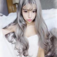 Modèles coréens air chaud cogne grand-mère gris fille douce perruques ventes directes d'usine de postiche en Europe et aux États-Unis