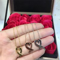 Engagement Jewelry Necklace Woman 18K Gold Plated Heart Neck...