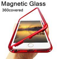 Стекло Magnetic Адсорбция металла телефон чехол для Iphone 11 / 11Pro / 11max 8 плюс полное покрытие алюминиевого сплава с закаленным стеклом
