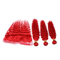 Bright Red Deep Wave Malaysian Human Hair Wefts with Frontal...