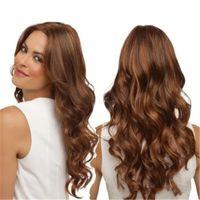 Perruque longue bouclée longue perruque ondulée naturelle de femmes brun clair