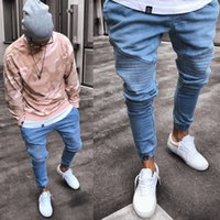 2019 Men' s Stretchy Ripped Skinny Biker Jeans Destroyed...