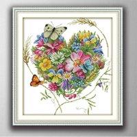 borboletas pinturas decoração flores do amor de casa, conjuntos de Handmade Cross Stitch bordado Needlework contados impressão sobre tela DMC 14 ct / 11CT