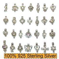100% 925 prata esterlina colar de pérolas Medalhão Gaiolas Pearl Pendant DIY Colar 15 * 25mm 28 estilos de moda jóias de Natal