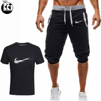 2019 Summer Fashion T- shirt + Shorts 2 Piece Set Men And Wom...
