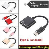 2 1 USB 타입 C 듣기 USB-C 변환기를 충전 안드로이드 전화 AUX 케이블 헤드폰 충전기 3.5mm의 이어폰 잭 오디오 어댑터