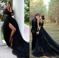 Rustic Country Negro Vestidos de novia gótico en V Ilusión de cuello Top Mangas largas Fall Tulle vestido de novia largo tren sexy alta ranuras