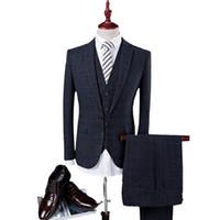2019 azul marino oscuro trajes para hombre trajes de verificación de lana de tweed Regular Fit Groom Tuxedos por encargo de la boda a cuadros Tuxedos vestido Formal