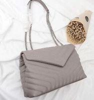 bolso de hombro clásico bolsas de las mujeres la forma de V de la cadena Flaps bolsa de cuero genuino bolsos de embrague del mensajero del totalizador del monedero de compras