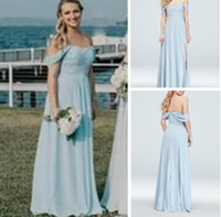 New Simple Sleeveless Off-Shoulder Pleated Bodice Gown with Split Bridesmaid Dresses Maid of Honor Beach Floor-length Plus Size Dresses