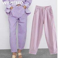 Kadın Kot Solmuş Yaz İngiltere Vintage Mor Renk Anne Kadın Şalgam Pantolon Kadınlar Için Yüksek Bel Pileli Erkek Arkadaşı