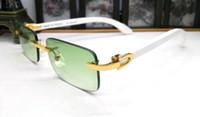 Man Shades Frauen Buffalo Horn-Glas-Rahmen Retro Holz Sonnenbrille Frauen Randlos Grüne Linse Sonnenbrille Mens Sport Brillen 2020 Online