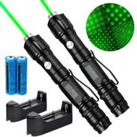 2Pack 100Mile Militar 009 2em1 Verde Laser Pointer Pen Star Cap astronomia 5mW 532nm Toy Cat poderosa + 18650 Battery Charger +