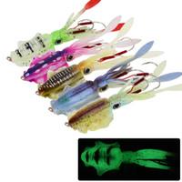 Karışık 5 Renk 150mm 60g Aydınlık Kalamar Jigs Balıkçılık Kanca Fishhooks Çift Kanca Yumuşak Yemler Lures Yapay Yem Olta Takımı