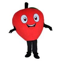 Professionell Custom Little Red Apple Mascot Kostymtecknad Grön Apple Frukt Karaktär Kläder Halloween Festival Party Fancy Dress