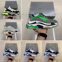 2019 nueva venta caliente |, Moda Triple S Track Trainers hombres y mujeres diseñador Clunky zapatos casuales negro naranja damas caminar París sucio papá sho