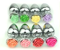 Butt Plug Rose Blume-Form-Metall-Legierung Stecker Edelstahl Dildo Vibrator Jeweled Anal Butt Plug Sexspielzeuge für Männer Paare