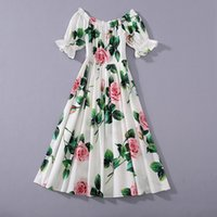 venda verão ins por atacado pista de pista novo quente vestido completo slash pescoço mangas curtas painéis com zíper floral vestidos florais
