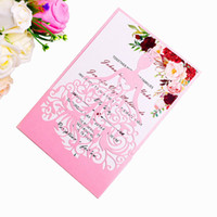 2019 New Pink Laser Cut Crown Princess Invitations Cards For...