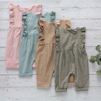 Enfants Vêtements Girls Boys Solide Rompe Nouveau-né Ruffle Ruffle Jumpsuits sans manches Jumpsuits Summer Baby Escalade Vêtements C1314