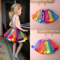 Niños bebé lindo hecho a mano encantadora colorido tutu falda chicas arco iris tul tutu mini vestido 0-8y
