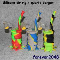 venta al por mayor Hookahs de silicona Bongs + vidrio tubo de agua de silicona de tronco descendente aparejo Termochromic Bucket 14mm clavos de cuarzo masculinos Thermal Banger Nails