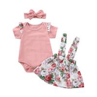 Одежда для девочек Цветочный ремешок с принтом Пуговицы Юбки сплошной лук Повязка на шею с рюшами и короткими рукавами Боди 3шт. Детский наряд
