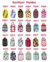 US-Aktien Neopren Hand Sanitizer Flaschenhalter Schlüsselanhänger Taschen 30ML 10.3 * 6cm Schlüsselanhänger Handseife Flaschenhalter 24 Farben