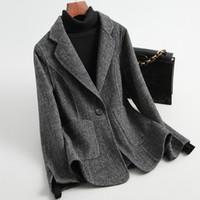 Frauen 19FW doppelseitige gestreifte Wolle Tweed-Blazer-Mantel-Jacke ein Knopf slim fit Fischgrätmuster