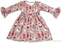 Bébé Fille De Noël Robe Santa Claus Bonhomme De Neige Robes Enfant Automne Hiver À Manches Longues À Rayures Robe Enfants De Noël Princesse Pingouin Vêtements