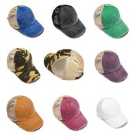 Ponytail Baseball Cap 8 couleurs élastique Sports de plein air Hip Hop Snapback Washed Visor Messy Bun Chapeaux OOA8093