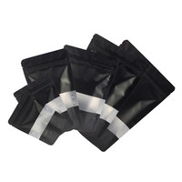 Formato Assorted Matte Black con la radura rettangolo della finestra anteriore argento all'interno posteriore nero Foil Mylar Stand Up Zip borse di blocco con la rottura Notch
