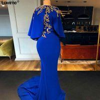 Arapça Kraliyet Mavi Mermaid Abiye Şal Vintage Altın Dantel Aplike Balo Kıyafeti Artı Boyutu Kemer Örgün Parti Nedime Elbisesi