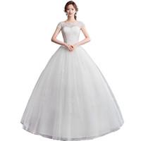 Robe de mariée de robe de boules à boule de coussin de coussine avec perles de dentelle 2019 Robes de mariée du sol blanc ivoire