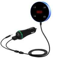 JRFC02 2 en 1 Bluetooth Transmetteur FM AUX Récepteur audio 3,5 mm Mains libre double USB Chargeur voiture Accessoires